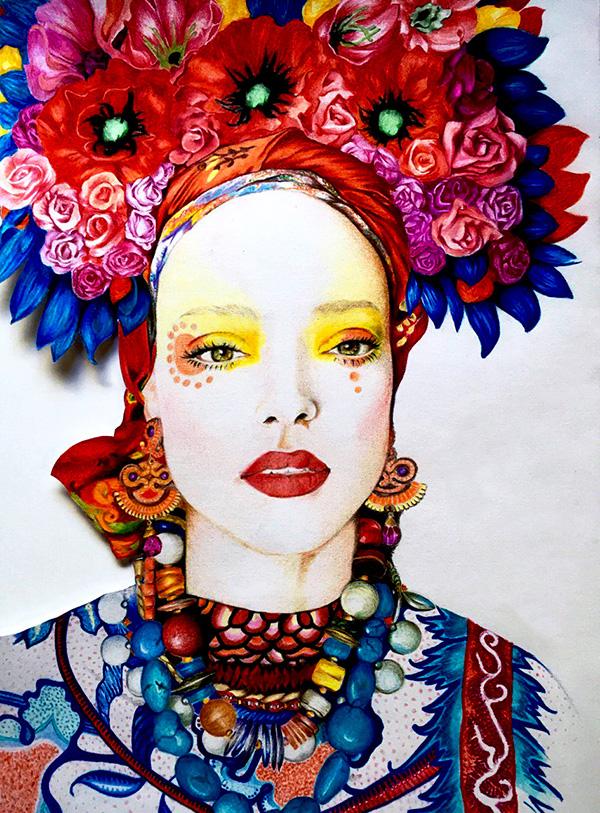 Illustration-Frauenportrait-mit-Blumen