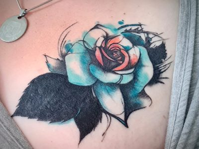 Rose New School Tattoo